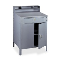 "Tennsco Closed Foreman's Style Desk, Drawer, 34½"" x 29"" x 53"", Medium Gray"