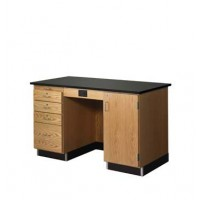 Solid Oak Wood Instructors Desk, Flat Phenolic Resin Top, 5' Width