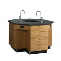 "Solid Oak Octagon Workstation with Sink, Drawer Base, 62""W - 2 Top Types"