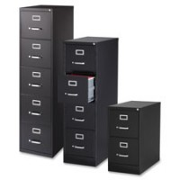 Lorell Vertical File Cabinets, Black - Choose 2, 4 or 5 Drawer, Legal or Letter Size