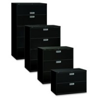 "HON Brigade Lateral Files, with Lock, 42""W, Black - 2,3,4 or 5 Drawers"