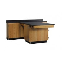 "Solid Oak Wood Perimeter Workstation with 1 Door, 90""W - 2 Top Types"