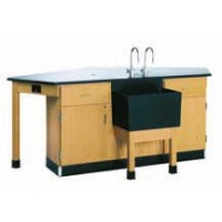 "UV Finish Solid Oak Wood Forward Vision I Workstation with Door/Drawer Cabinet and End Sink, 96""W x 36""H x 50""D"