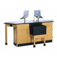 """UV Finish Solid Oak Wood Forward Vision I Workstation with Door/Drawer Cabinet, 2 Lab Hands and End Sink, 96""""W x 36""""H x 50""""D"""
