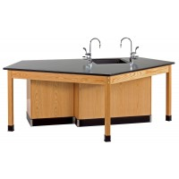 "Solid Oak Wood Forward Vision ADA Workstation with Door Cabinet, Sink, Epoxy Resin Top, 96""W x 34""H x 50""D"