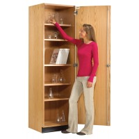"UV Finish Solid Oak Wood Wall Storage Case, 24""W x 84""H x 22""D"
