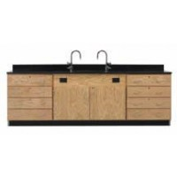 """Solid Oak Wood Wall Service Bench with Drawer Cabinet, Sink, 108""""W - 2 Top Types"""