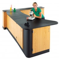 """UV Clear Finish Solid Oak Workstation, Epoxy Resin Top, 96""""W - 2 Configurations"""