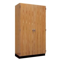 "UV Finish Solid Oak Wood Wall Storage Case, 36""W x 84""H x 22""D"
