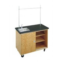 "Solid Oak Wood Economy Mobile Lab Table, with Sink, Laminate Top, 48""W x 36""H x 24""D"