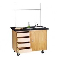 "UV Finish Solid Oak Wood Mobile Demo Table with Drawers, Sink, ChemGuard Top, 48""W x 48""H x 28""D"