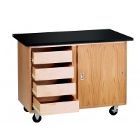 "UV Finish Solid Oak Wood Mobile Demo Table with Drawers and ChemGuard Top, 48""W x 48""H x 28""D"
