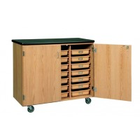 "Solid Oak Wood Mobile Tote Tray Storage Cabinet with Plastic Laminate Top, 500 pounds Capacity, 48""W x 41½""H x 24""D"
