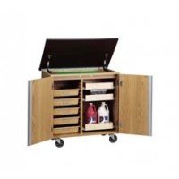 "UV Finish Oak Wood Write-n-Roll Cabinet with Swivel Caster, Marker Board Top, 36""W x 36""H x 24""D"