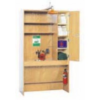 "Oak Wood Safety Station, 48""W x 84""H x 22""D"