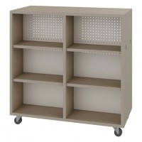 Double Face Straight Mobile Book Shelf in Flax Linen Laminate