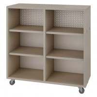 Single Face Straight Mobile Book Shelf in Flax Linen Laminate