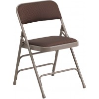 Curved Triple Braced & Quad Hinged Patterned Fabric Upholstered Metal Folding Chair - Brown