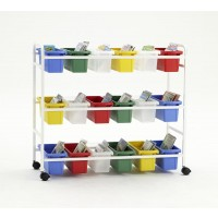 Book Browser Cart with 18 Small Tubs - Copernicus BB005-18