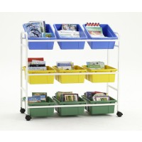 Book Browser Cart with 6 Divided & 3 Open Tubs - Copernicus BB005-9