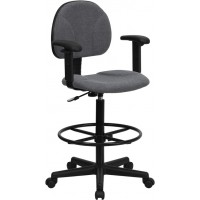 Fabric Ergonomic Drafting Stool - Optional Arms Available