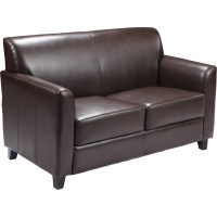 Signature Diplomat Series Brown Leather Love Seat
