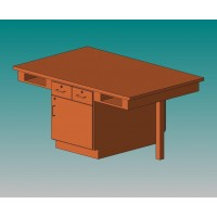 "UV Finish Solid Oak 4 Station Table, Drawer/Cabinet, 66""W - 4 Top Types"