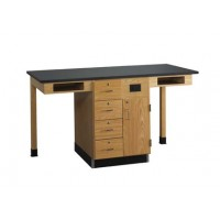 """UV Finish Solid Oak Wood 2 Station Service Center, 66""""W - 2 Top Types"""