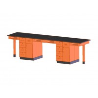 """UV Finish Solid Oak Wood 4 Station Service Center, 132""""W - 2 Top Types"""