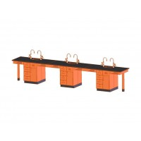 """UV Finish Solid Oak 6 Station Service Center, Drawer and Shelf, Sink, 198""""W - 2 Top Types"""