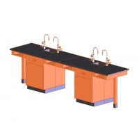 """UV Finish Solid Oak 4 Station Service Center with Full Cupboard, Sink, 132""""W - 2 Top Types"""
