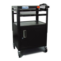 HamiltonBuhl Height adjustable AV Media cart w/ Security Cabinet - Two Pull-Out Shelves - CABT4226E-5