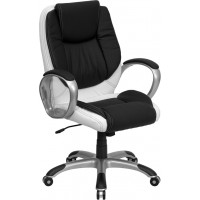 Mid-Back Black and White Leather Executive Swivel Office Chair