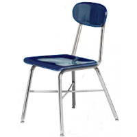 "Columbia Manufacturing 17.5"" Seat Height X-Brace Chair - Blue Seat and Chrome Frame"