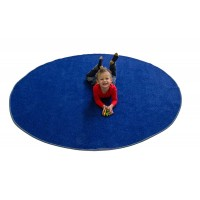 Small round blue rug