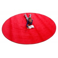 Large round red rug