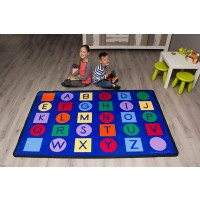 Alphabet on circles and squares rug