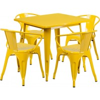 31.5'' Square Metal Indoor Table Set with 4 Arm Chairs
