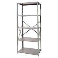 "Hallowell Hi-Tech Free Standing Shelving 36""W x 12""D x 87""H 725 Hallowell Gray 5 Adjustable Shelves Stand Alone Unit Open Style with Sway Braces"