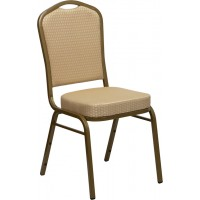 Signature Series Crown Back Stacking Banquet Chair 2.5'' Thick Seat - Gold Frame - 4 Seat Options