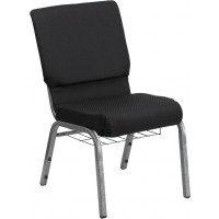 Signature Series 18.5'' Wide Black Patterned Fabric Church Chair with 4.25'' Thick Seat - Silver Vein Frame - 2 Seat Options
