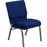 Signature Series 21'' Extra Wide Navy Blue Fabric Stacking Church Chair with 4'' Thick Seat - Silver Vein Frame