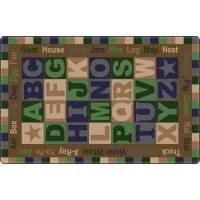 Tranquility Colors ABC Words Educational Rug