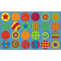 Patterned Circles Educational Rug
