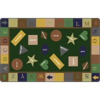 Simple Shapes in Tarragon Educational Rug