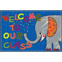 Welcome Mat Class Elephant 2' x 3' Educational Rug