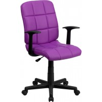 Mid-Back Quilted Vinyl Task Chair with Nylon Arms - 6 Seat Options