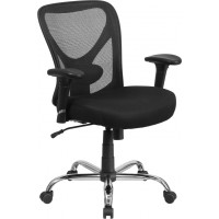 Signature Series 400 lb. Capacity Big & Tall Office Chair with Height Adjustable Back and Arms - Black Mesh