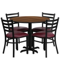 36'' Round Laminate Table Set with 4 Ladder Back Metal Chairs - Burgundy Vinyl Seat - 4 Table Colors