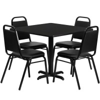 36'' Square or Round Laminate Table Set with 4 Black Trapezoidal Back Banquet Chairs - 2 Table Colors